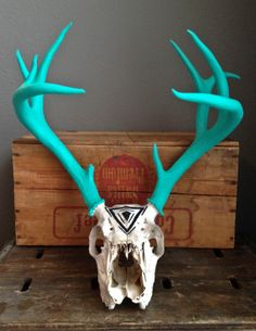 Turquoise and Geometric Design Painted Deer Skull by BuffaloDaisies