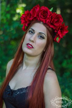 Scarlet Red Rose and Flower Crown Headpiece by NebulaXcrafts