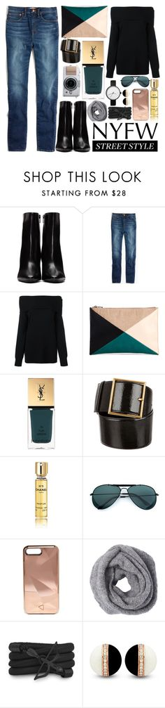"""""""NYFW Street Style"""" by lillybluemoon ❤ liked on Polyvore featuring Yves Saint Laurent, Madewell, T By Alexander Wang, Sole Society, Chanel, Rebecca Minkoff and Monza"""