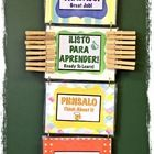 DIY Behavior Management Chart for the Spanish/English Bilingual Classroom. Color-Coded Text and Icons ONLY.  Craft Paper, Design Border, Clothespins, a...
