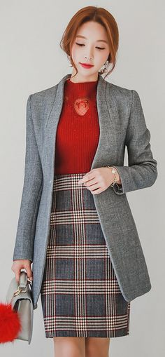 StyleOnme_Pearl Single Button Tailored Coat #grey #falltrend #koreanfashion #formal #elegant #feminine #kstyle #seoul #kfashion #fallcolors #coat #jacket
