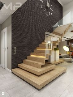 Faltwerktreppe mit Glas Staircase with glass This image has get Interior Stairs, Home Interior Design, Interior Architecture, Interior Concept, Escalier Design, Stair Walls, Wood Stairs, Staircase Design, Stair Design