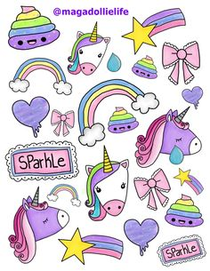 Magical Unicorn Sticker Art for 8.5 X 11 inch Sticker Paper #Unicorn #Rainbow… Unicorn Stickers, Kawaii Drawings, Cute Drawings, Real Unicorn, Magical Unicorn, Rainbow Png, Rainbow Clipart, Rainbow Unicorn, Unicorn Drawing