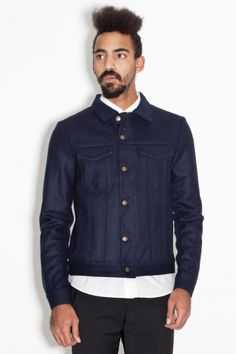 Ami Wool Jean Jacket Navy Trucker, via Tres-Bien
