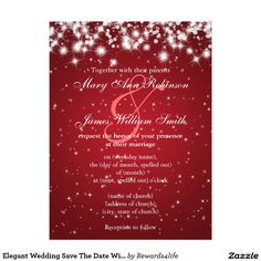 Elegant Wedding Save The Date Winter Sparkle Red 6.5x8.75 Paper Invitation Card