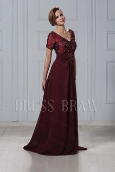 Charming Beading Lace V-Neck Short-Sleeves Floor-Length Veronika's Mother of the Bride Dress: Dressbraw.com