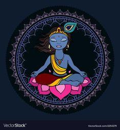 Royalty-Free Vector Images by katyau (over Krishna Drawing, Krishna Painting, Buddha Painting, Pichwai Paintings, African Art Paintings, Madhubani Art, Madhubani Painting, Cute Krishna, Krishna Art