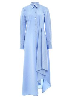 This long sleeve cotton **Alexis** dress features a classic button up design with a standard collar, buttoned cuffs at the wrists, and a knee length silhouette with a cascading ruffle detail at the front. Stylish Dress Designs, Stylish Dresses, Simple Dresses, Casual Dresses, Muslim Fashion, Modest Fashion, Hijab Fashion, Fashion Dresses, Fashion Vestidos