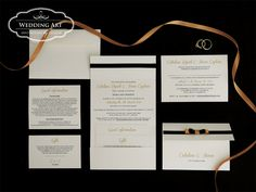 Beautiful and classy pocket wedding invitations featuring layered ribbon loops. www.weddingart.co.nz