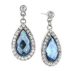 Elegant and radiant! These gorgeous earrings feature a breathtaking combination of blue and clear crystals with a polished silver tone for a look that is stylish and regal.