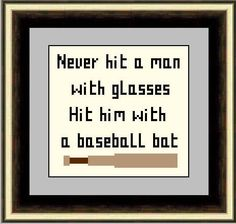 Never Hit a Man with Glasses Cross Stitch Pattern PDF Instant Download - Subversive, Easy by HeritageStitch on Etsy