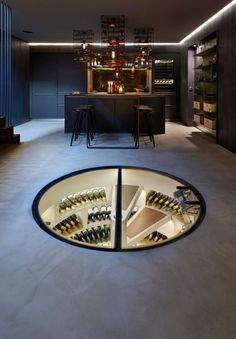 Curves aren't just about cabinetry – wine lovers will appreciate this luxurious storage solution from Spiral Cellars