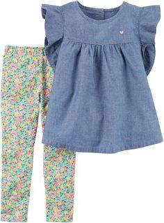 Toddler Girls Chambray Floral Leggings Set  spring  affiliate Ropa Linda Para  Niñas 32ef1b078586