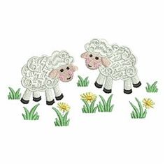 Sweet Heirloom Embroidery Design: Lambs On The Farm 2.26 inches H x 3.84 inches W