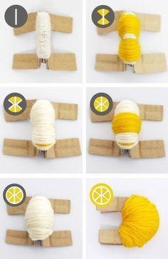 Pompons citrons étape1