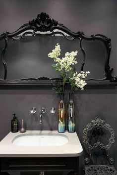 22 Wonderful Gothic Bathroom Designs: 22 Wonderful Gothic Bathroom Designs With Flower Vase Decor And Gothic Mirror Frame Design Gothic Bathroom, Dark Bathrooms, Beautiful Bathrooms, Bathroom Interior, Ornate Mirror, Mirrors, Gothic House, Washroom, Bathroom Inspiration