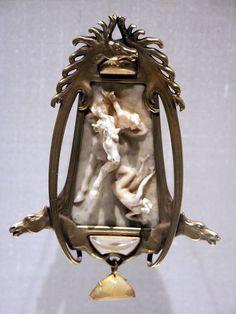 "Renè Lalique, ""Horseman"" Pendant, c. 1900-1902, gold, ivory and opals."