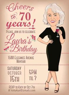 A selection of tasteful birthday invitations chosen by a professional party planner 70th Birthday Party Ideas For Mom, 75th Birthday Parties, 80th Birthday, Birthday Banners, 50th Party, 75th Birthday Invitations, Birthday Woman, Blog, Invitation Ideas