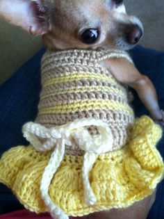 (4) Name: 'Crocheting : Summer Fun Dog Dress - XS and Small size