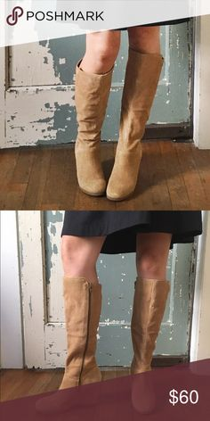 SALE TIL MIDNIGHT! Nine West Suede Wedge Boots Size 6.5 Worn once!! Perfect condition. Gum sole, honey suede. Nine West Shoes Heeled Boots