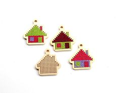DIY Kit Small  Key Chain Pendant Wooden Embroidery Kit Small House  Wooden Blanks for Modern Embroidery Cross Stitch Blanks
