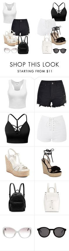 """""""Black/White"""" by marialoveswednesdays ❤ liked on Polyvore featuring J.TOMSON, Topshop, Yves Saint Laurent, Pelle Moda, STELLA McCARTNEY, French Connection, Emilio Pucci and Thierry Lasry"""