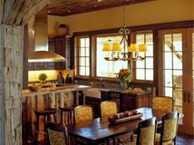 traditional dining room by Design Associates - Lynette Zambon, Carol Merica My style, rustic-arts and craft- traditional Rustic Home Design, Rustic Home Interiors, Dining Room Design, House Interior, Home Kitchens, Rustic Kitchen, Rustic Dining Room, Kitchen Design, Rustic House