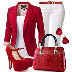 Cute red outfit minus the purse. Could be a work outfit. Komplette Outfits, Casual Outfits, Fashion Outfits, Outfits With Red Shoes, Polyvore Outfits, Red Outfits For Women, Spring Outfits, Holiday Outfits, Classy Outfits