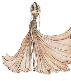 Sketch of the most amazing dress ever. Ellie Saab perfume ad costume. If I was going to get married, I would have worn this FOR SURE.