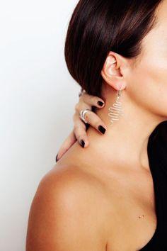Silver Earrings long wave
