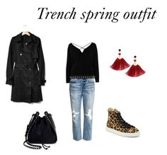 Trench spring outfit with leopard shoes by netstylistka on Polyvore featuring moda, River Island, Gap, H&M, Charlotte Olympia, Valentino, Shashi and Lodis