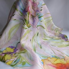 """Foulard en soie peint main iris jaune et violet """" baie des anges """""""