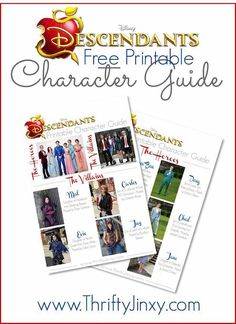 Disney's Descendants Printable Character Guide #Disney #VillainDescendants #ad