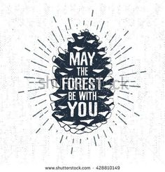 """Hand drawn label with textured fir cone vector illustration and """"May the forest be with you"""" lettering."""