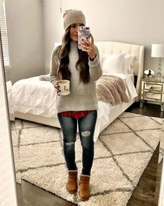 Winter Layering Outfits, Casual Holiday Outfits, Comfy Fall Outfits, Trendy Fall Outfits, Winter Fashion Outfits, Fall Winter Outfits, Winter Clothes, Winter Wear, Winter Style