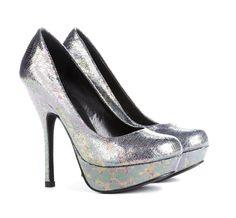 iridescent metallic pumps