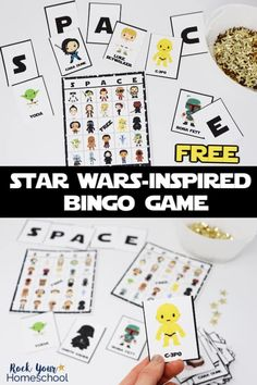 Have a blast with this free Star Wars-Inspired Bingo Game! Great activity for your Star Wars party, class, family, & homeschool fun. Includes 24 cards-awesome for large groups. Bingo Games, Fun Games, Rainy Day Fun, Star Wars Facts, Star Wars Day, Star Wars Tattoo, Star Wars Birthday, Disney Stars, Happy Kids