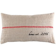 Customize this vintage grain sack pillow with your wedding established year for a beautiful home accent. Removable pillow insert is stuffed with down & feathers for long lasting enjoyment. MATERIALS -