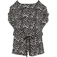 Black zig zag print cold shoulder playsuit £22.00