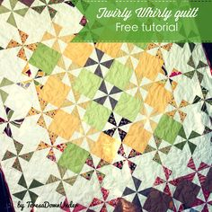 TWIRLY WHIRLY QUILT Tutorial-TERESADOWNUNDER Approximate finished size 54 inches W x  84 inches H. Binding type Self binding quilt. Fabric needs The fabric colours, particulary the solid colours, have been selected to match the charm squares …