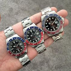 A dream lineup spanning 56 years from @rolexdiver with his Pepsi collection! Two GMT Masters and a white gold GMT Master II Contact @boxawatches for great prices on Rolex and other brands. #Rolex #rolexgmt #rolexgmtmaster #rolexpepsi #rolexpassion #rolexaholics by boxawatches