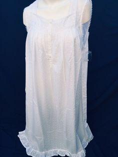 842cb9512f Delicates Women Cotton Embroidery White Plus Sz 2X Long Nightgown  Sleeveless NEW