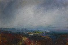 Kristan Baggaley. Evening Rain, Burbage Moor, Mixed Media on Canvas