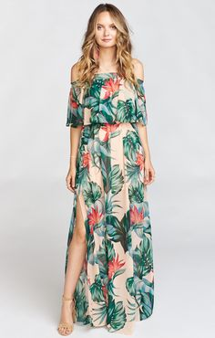 Summer Fashion Sexy Floral Printed Off The Shoulder Slit Beach Maxi Dress Luau Outfits, Tropical Outfit, Tropical Clothes, Sexy Maxi Dress, Maxi Dresses, Maxi Robes, Outfit Trends, A Line Gown, Tube Dress