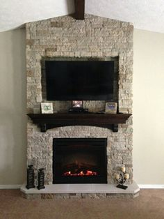Love this fireplace and floating mantel