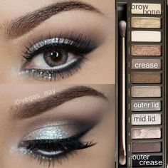Glamorous silver smokey eye using Urban Decay Naked 2 palette
