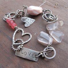 Silver Bracelet PINK gemstone stamped Silver Charm por artdi