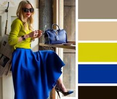 Bright blue + mustard, beige, khaki, black