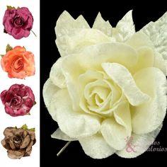 ¡Flores par esta primavera! Flor Carla de terciopelo en distintos colores para que consigas un look perfecto ;) #floresparatocados #tocados #doityourself
