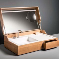 Hidden Washbasin by Makro #awesome, #hidden, #spacesaving, #wash